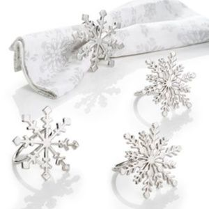 Martha Stewart SET OF 4 SNOWFLAKE NAPKIN RING